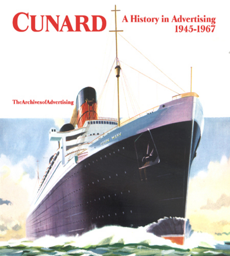 Image for R M S Queen Elizabeth Mary Mauretania + Cunard ad CD 1945-1967 100 ads!