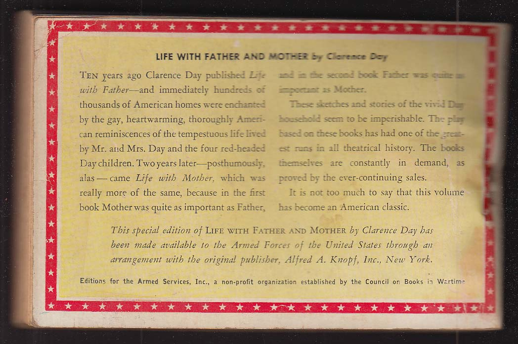 ASE 769 Clarence Day: Life with Father and Mother Armed Services Edition