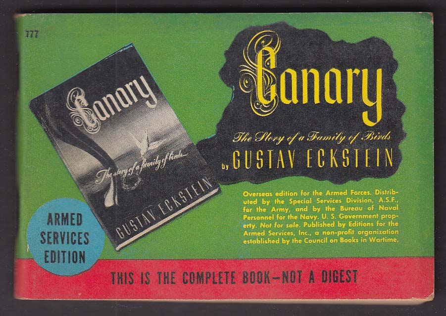 ASE 777 Gustav Eckstein: Canary Armed Services Edition