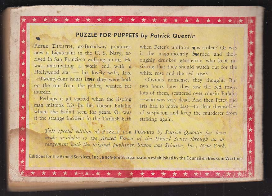ASE T-17 Patrick Quentin: Puzzle for Puppets 1944 Armed Services Edition