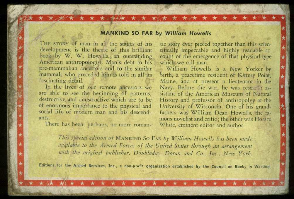 ASE 729 William Howells: Mankind So Far: Armed Services Edition