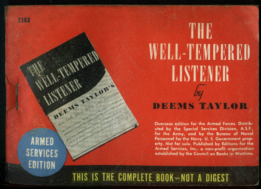 ASE 1103 Deems Taylor: The Well-Tempered Listener: Armed Services Edition