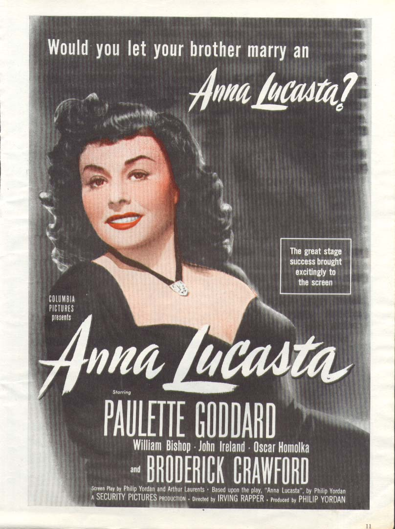 Anna Lucasta Paulette Goddard movie ad 1949