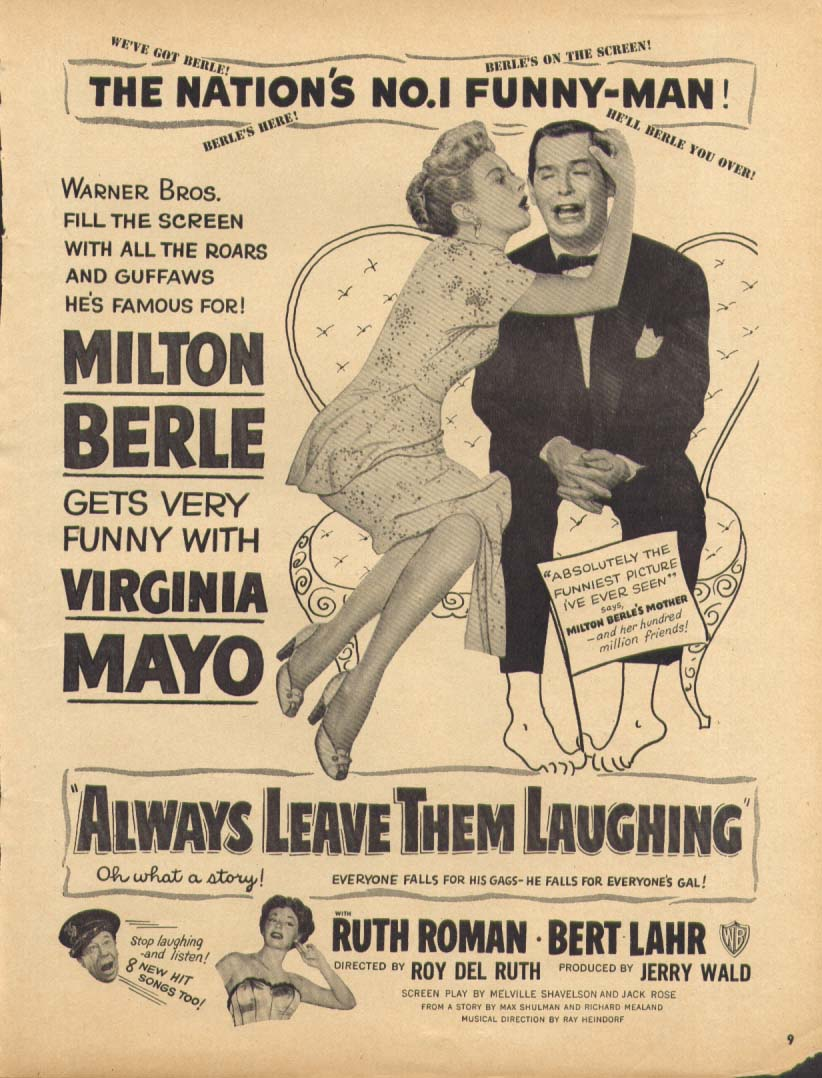 Always Leave Them Laughing Milton Berle movie ad 1949