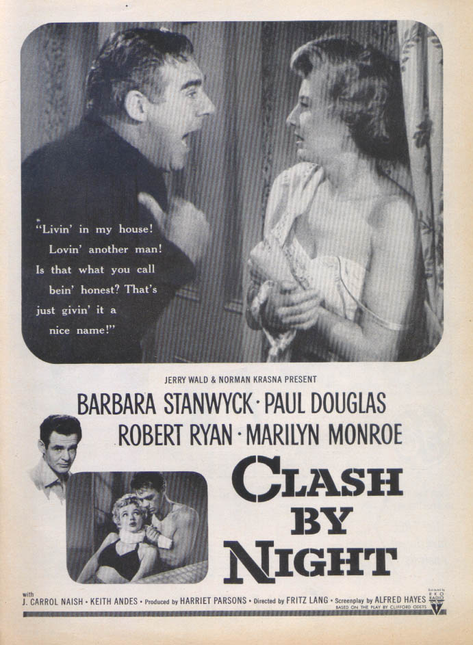 Barbara Stanwyck Marilyn Monroe Clash by Night ad '52 2