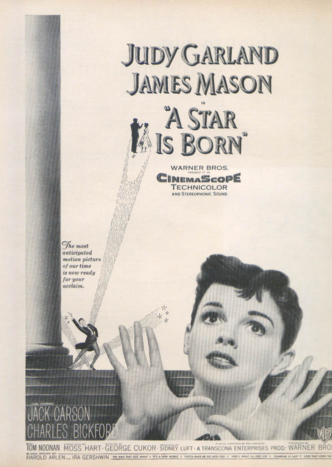 A Star is Born Judy Garland James Mason movie ad 1954