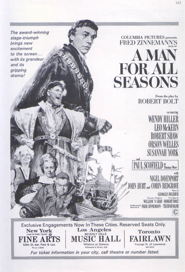 A Man For All Seasons Paul Scofield movie ad 1966