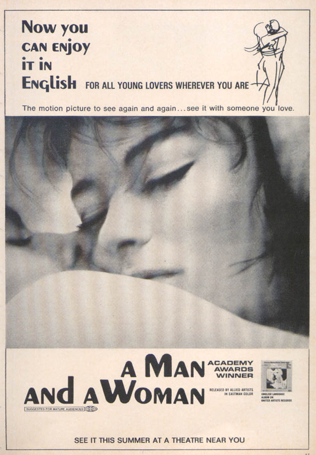 A Man And A Woman movie ad 1968