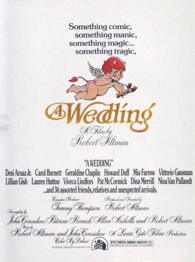 A Wedding Robert Altman movie ad 1978