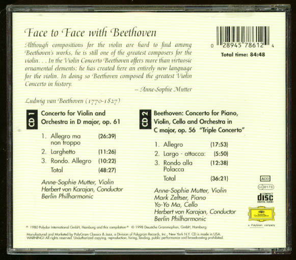Image for Anne-Sophie Mutter Face to Face with Beethoven CD DGG