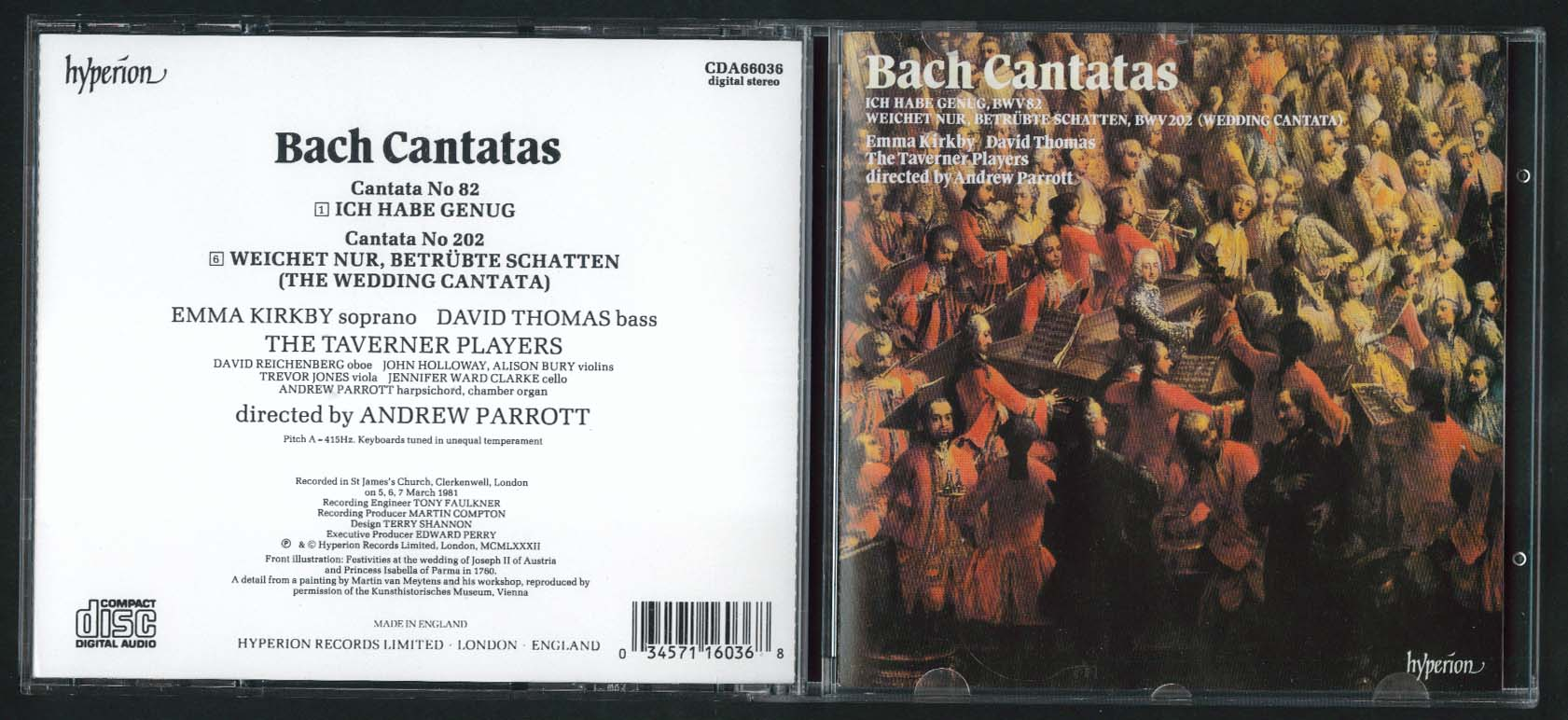 Andrew Parrott Taverner Players Kirby Thomas Bach Cantatas 82 202 CD 1987