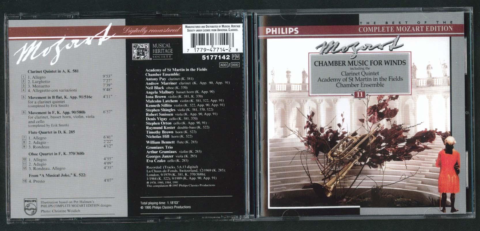 Image for Clarinet Quintet St Martin Mozart 581 91/516c 90/580b 285 370/368b 522 CD 1995