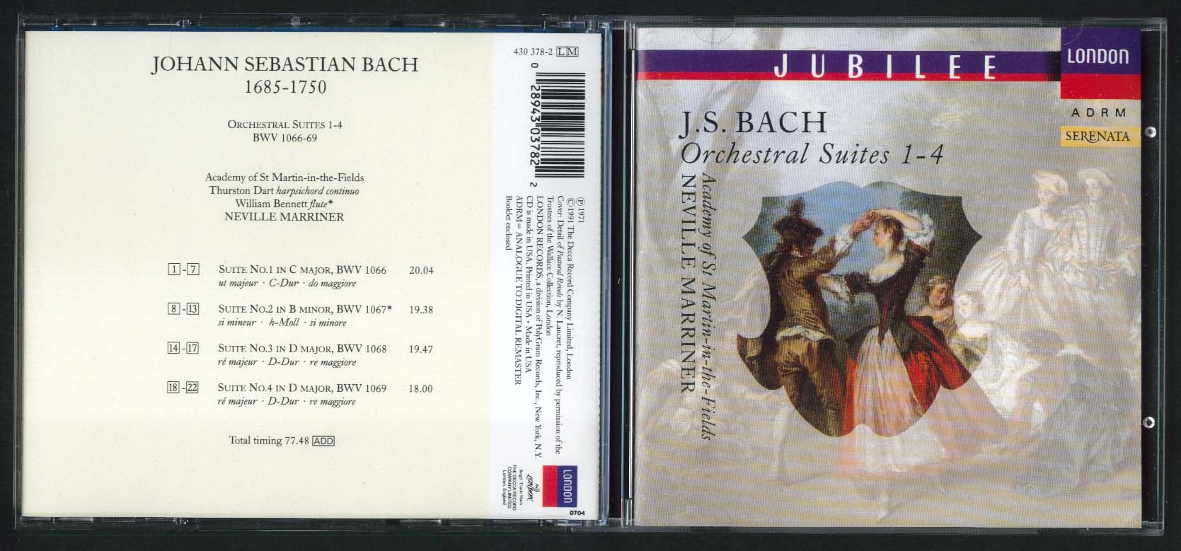 Image for Neville Marriner Bach Orchestral Suites 1-4 CD 1991
