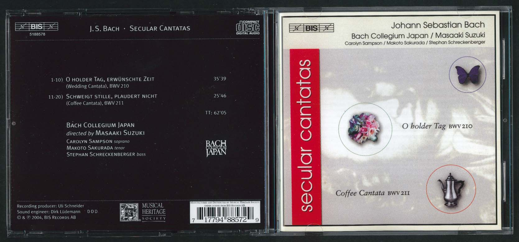 Bach Japan Secular Cantatas BWV 210 211 Musical Heritage Society CD 2004