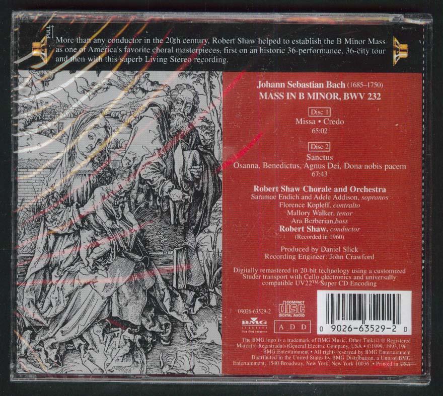 Image for Robert Shaw Chorale & Orchestra Bach B Minor Mass BWV 232 CD