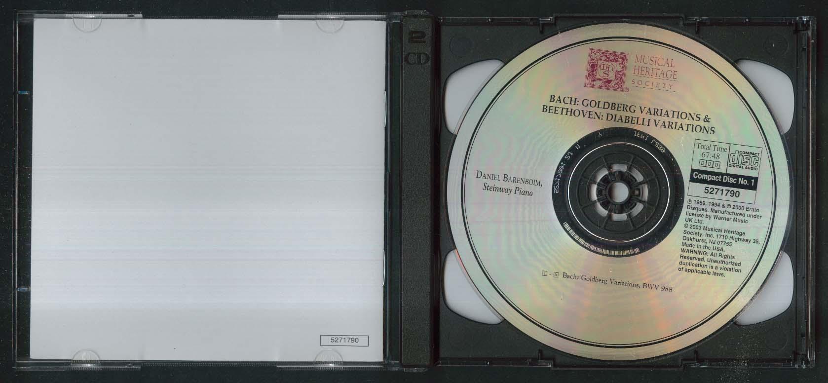 Daniel Barenboim Bach BWV 988 Beethoven Musical Heritage Society CD