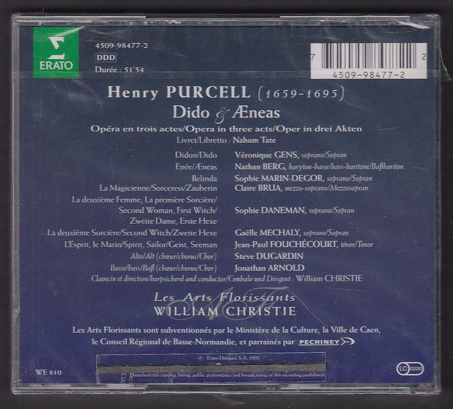 Purcell Dido & Aeneas Les Arts Florissants William Christie ERATO CD 1995
