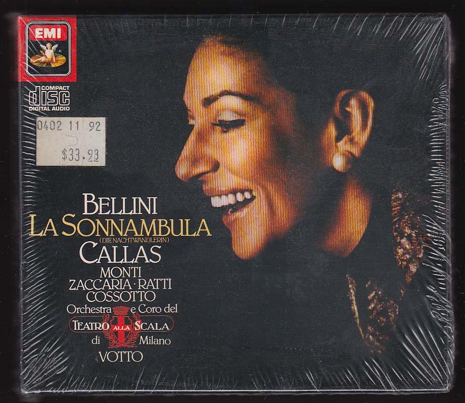 Bellini La Sonnambula Callas Monti Zaccaria Ratti Cossotto Scala ++ EMI CD 1986