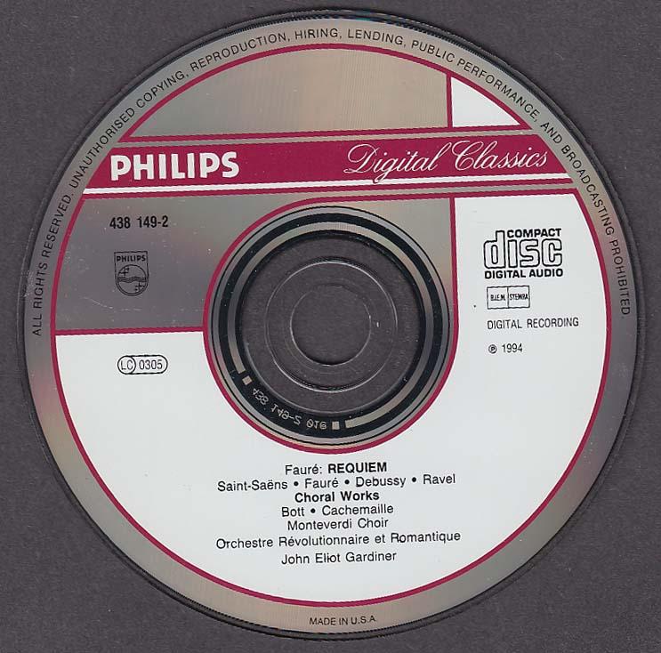 Image for Faure Requiem French Choral Monteverdi Choir John Eliot Gardiner Philips CD 1994