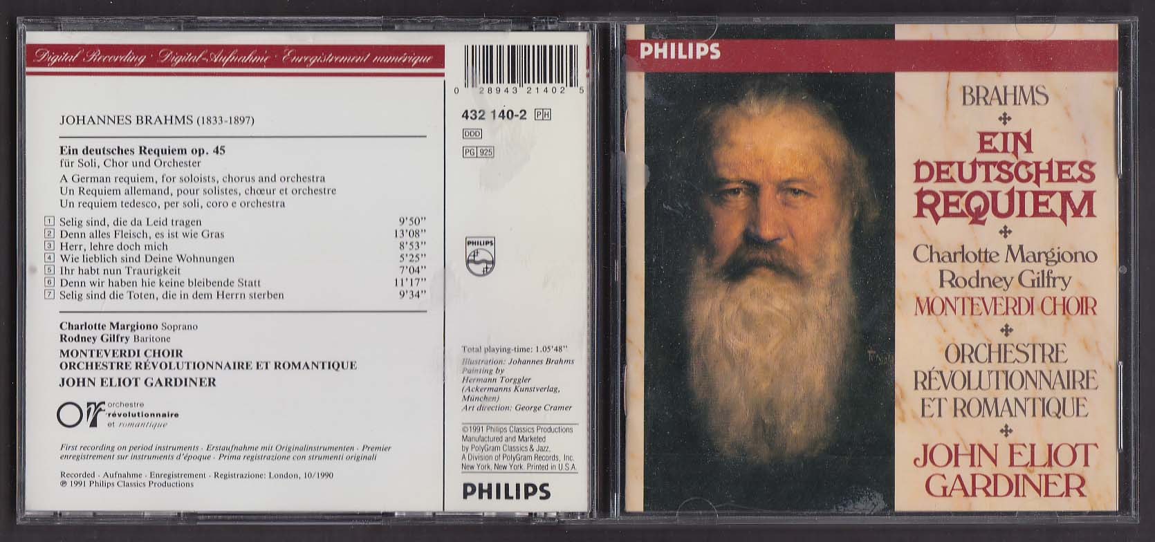 Image for Brahms Ein Deitsches Requiem John Eliot Gardiner Philips CD 1991
