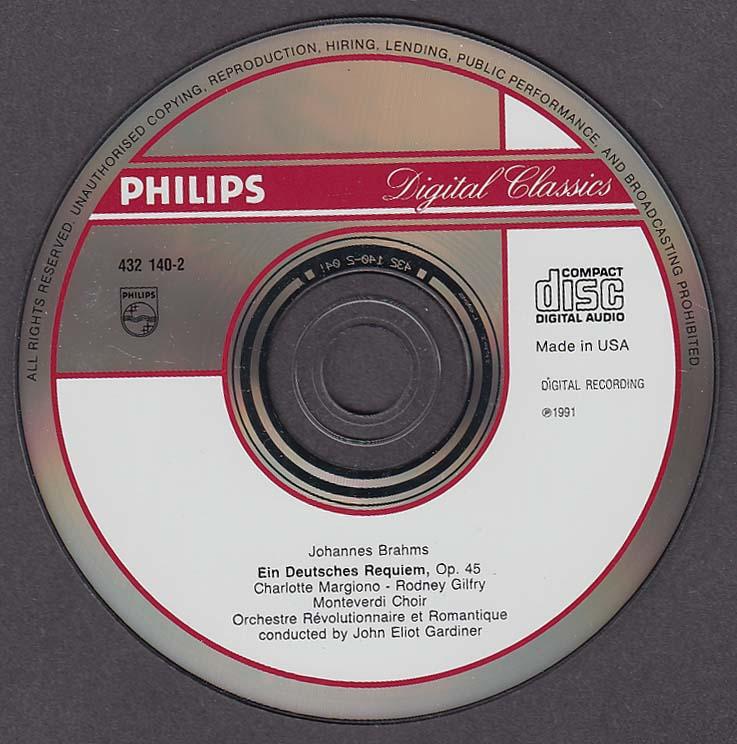 Image for Brahms Ein Deitsches Requiem John Eliot Gardiner Philips CD 1991