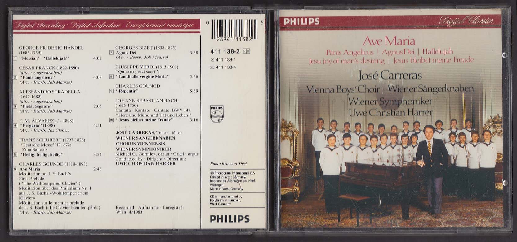 Ave Maria Jose Carreras Vienna Boys Choir + Philips Digital Classics CD 1983