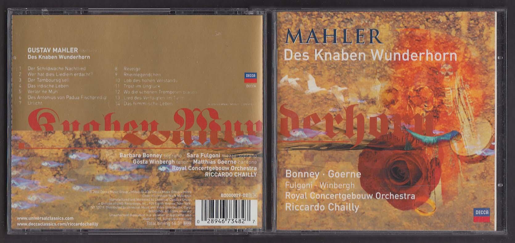 Image for Mahler: Des Knaben Wunderhorn Bonney Goerne ++ Decca CD 2002