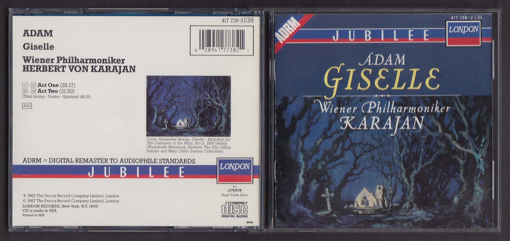 Adam Giselle Wiener Philharmoniker Karajan London CD 1987