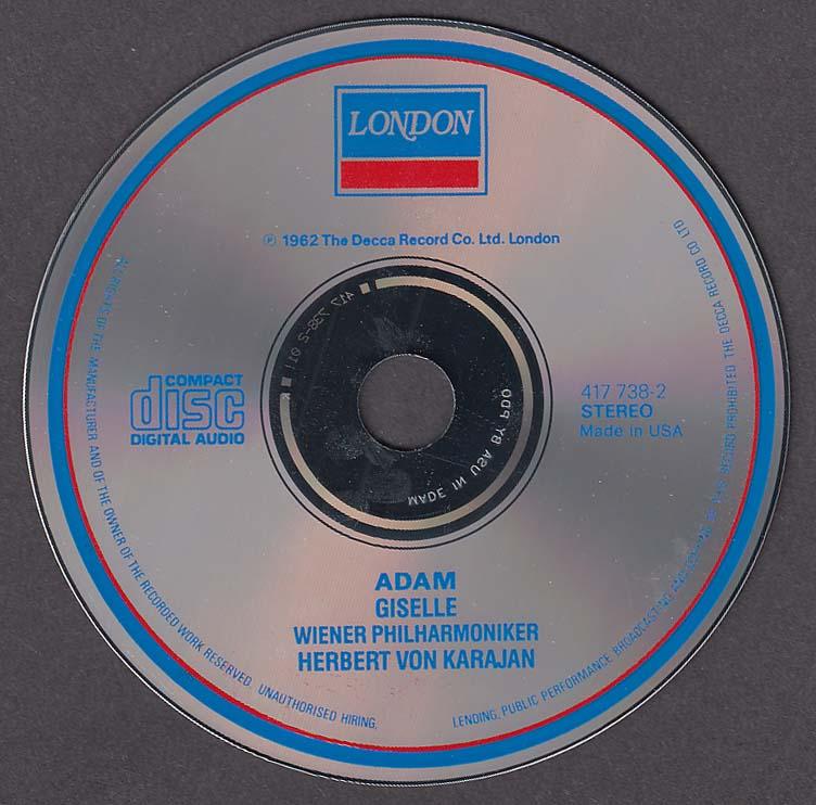 Image for Adam Giselle Wiener Philharmoniker Karajan London CD 1987
