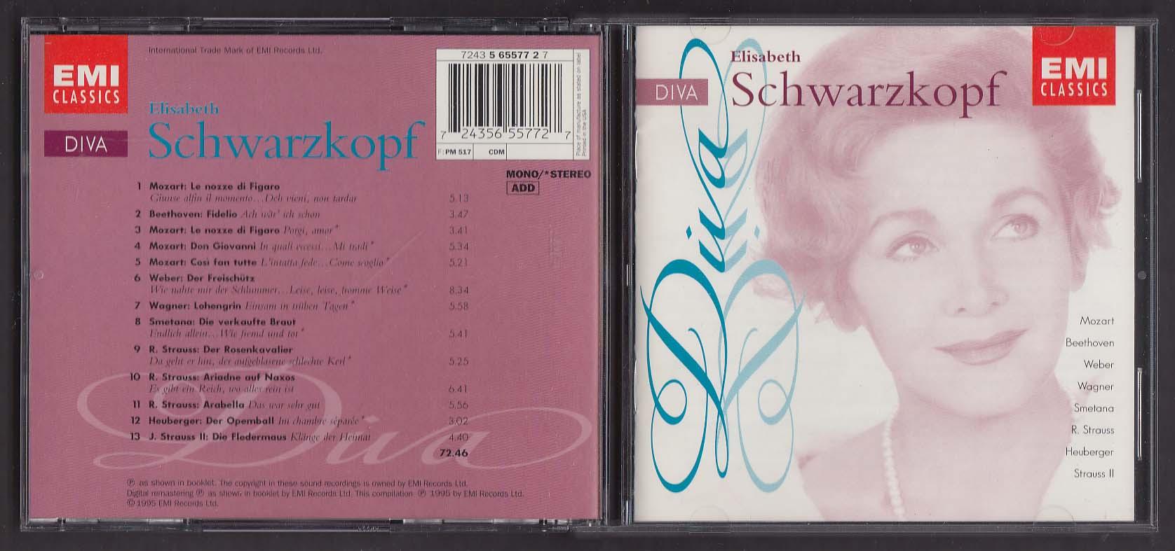 Image for Diva: Elisabeth Schwarzkopf Mozart Beethoven Wagner EMI 7243 5 65577 2 7 CD 1995
