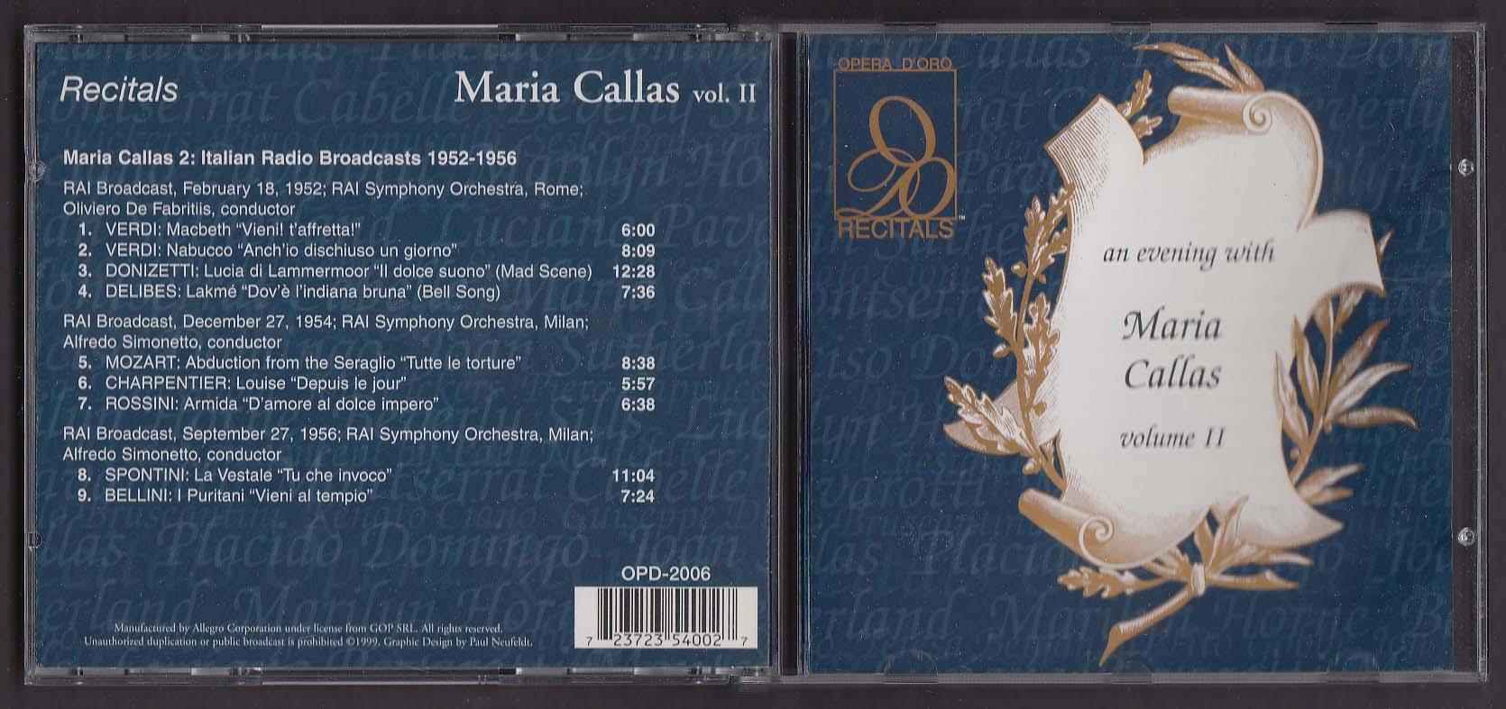 Image for Maria Callas Vol II OPD-2006 Opera D'Oro Recitals CD 1999