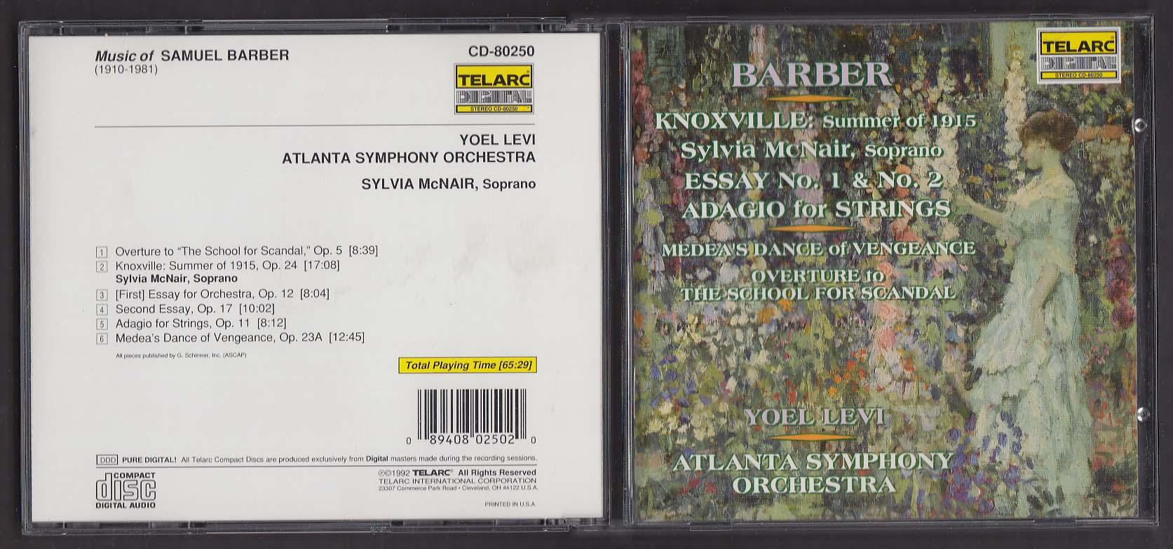 Atlanta Symphony Orchestra: Samuel Barber TELARC CD-80250 CD 1992