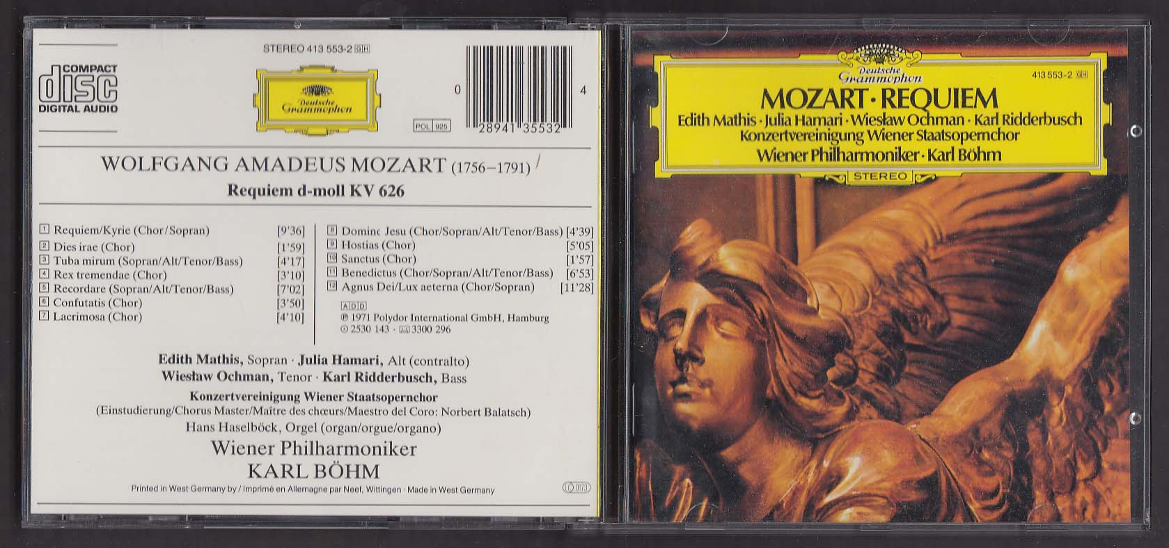 Image for Mozart Requiem Wiener Philharmoniker Bohm Deutsche Grammophon CD 1983
