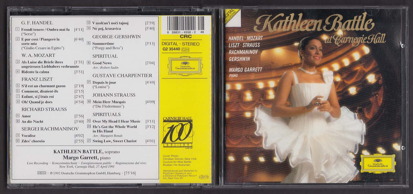 Image for Kathleen Battle at Carnegie Hall G2 35440 Deutsche Grammphon CD 1992