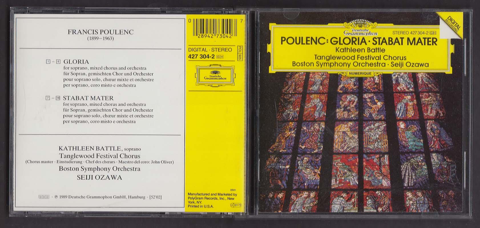 Image for Poulenc Gloria Stabat Mater Boston Symphony Deutsche Grammophon CD 1989