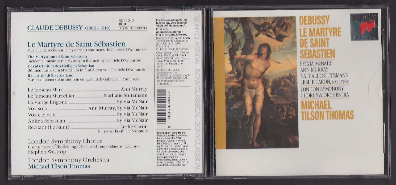 Debussy: Le Martyre de Saint Sebastien Tilson Thomas SK 48240 Sony CD 1992