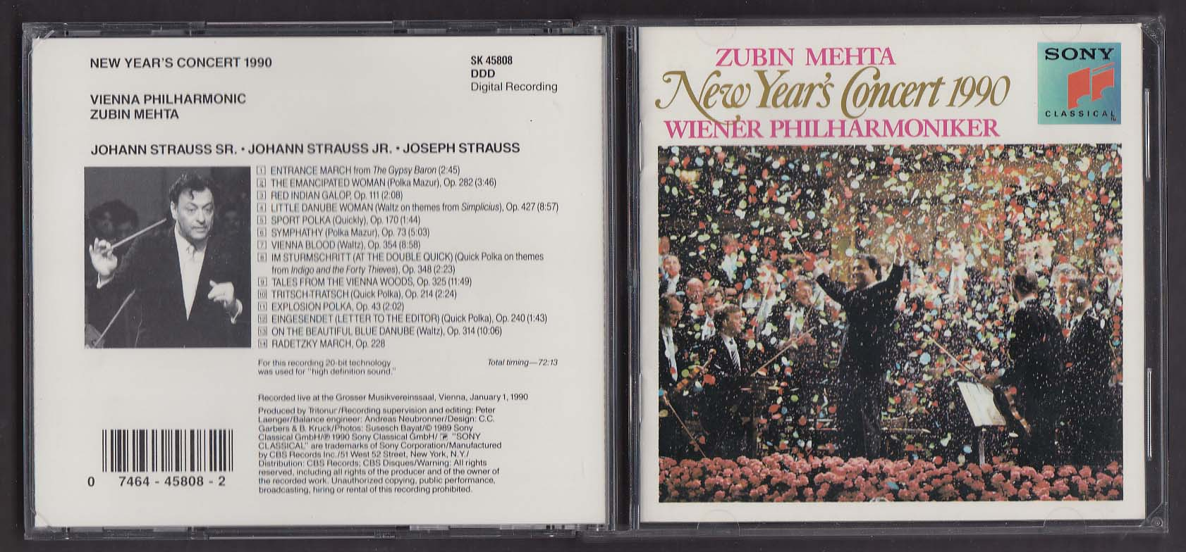 Image for New Year's Concert 1990 Vienna Philharmonic Zubin Mehta SK 45808 Sony CD