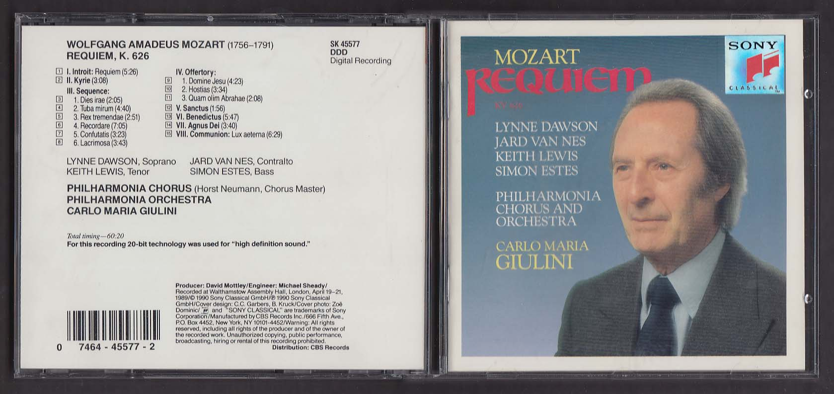 Image for Mozart Requiem KV 626 Philharmonia Orchestra Giulini SK 45577 Sony CD 1990