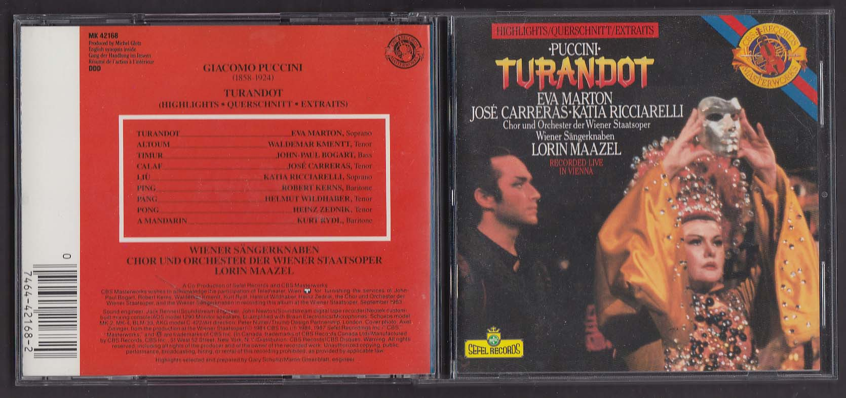 Image for Puccini: Turandot Highlights MK 42168 CBS CD 1987