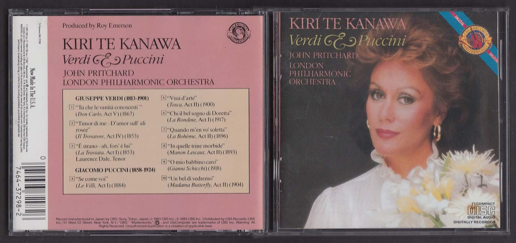 Image for Te Kanawa: Verdi & Puccini MK 37298 CBS Masterworks CD 1983