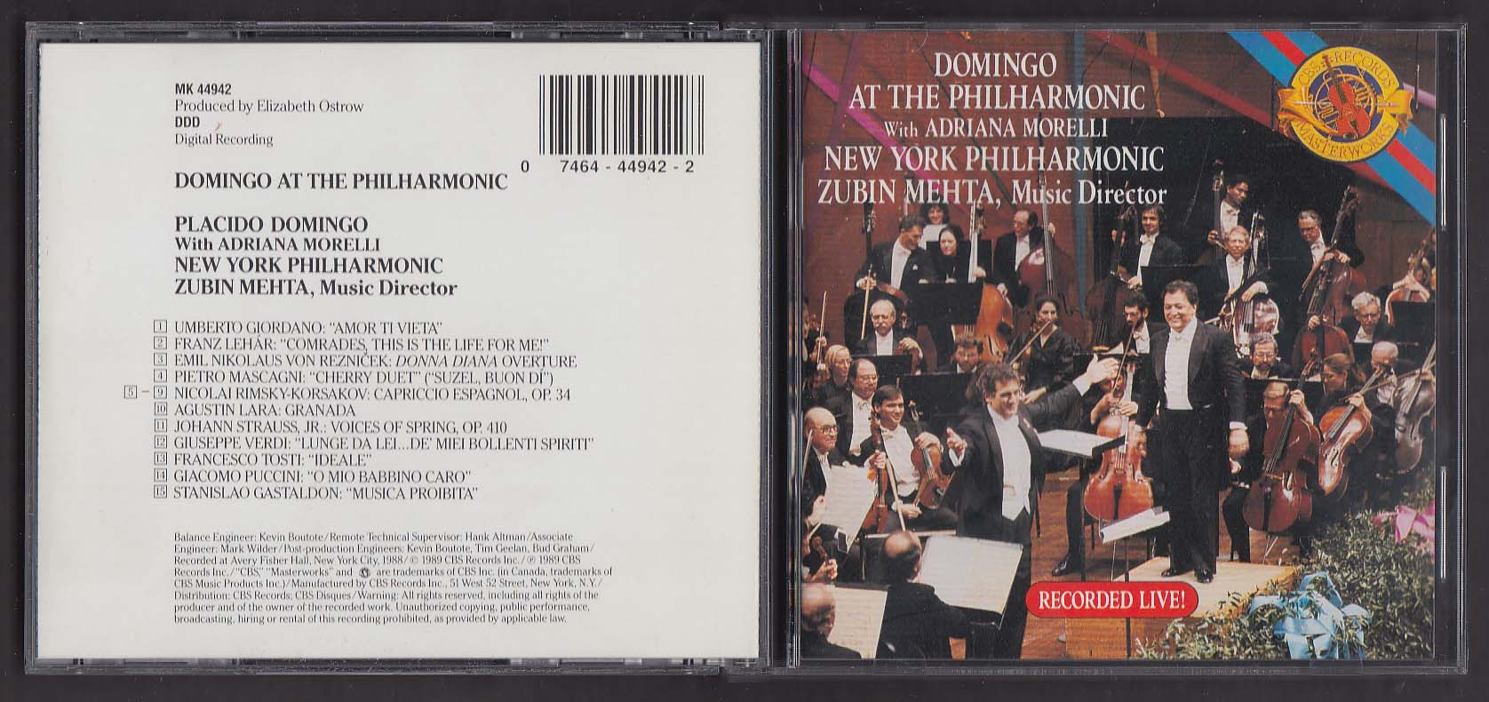 Image for Placido Domingo at the Philharmonic - Zubin Mehta MK 44942 CBS CD 1989