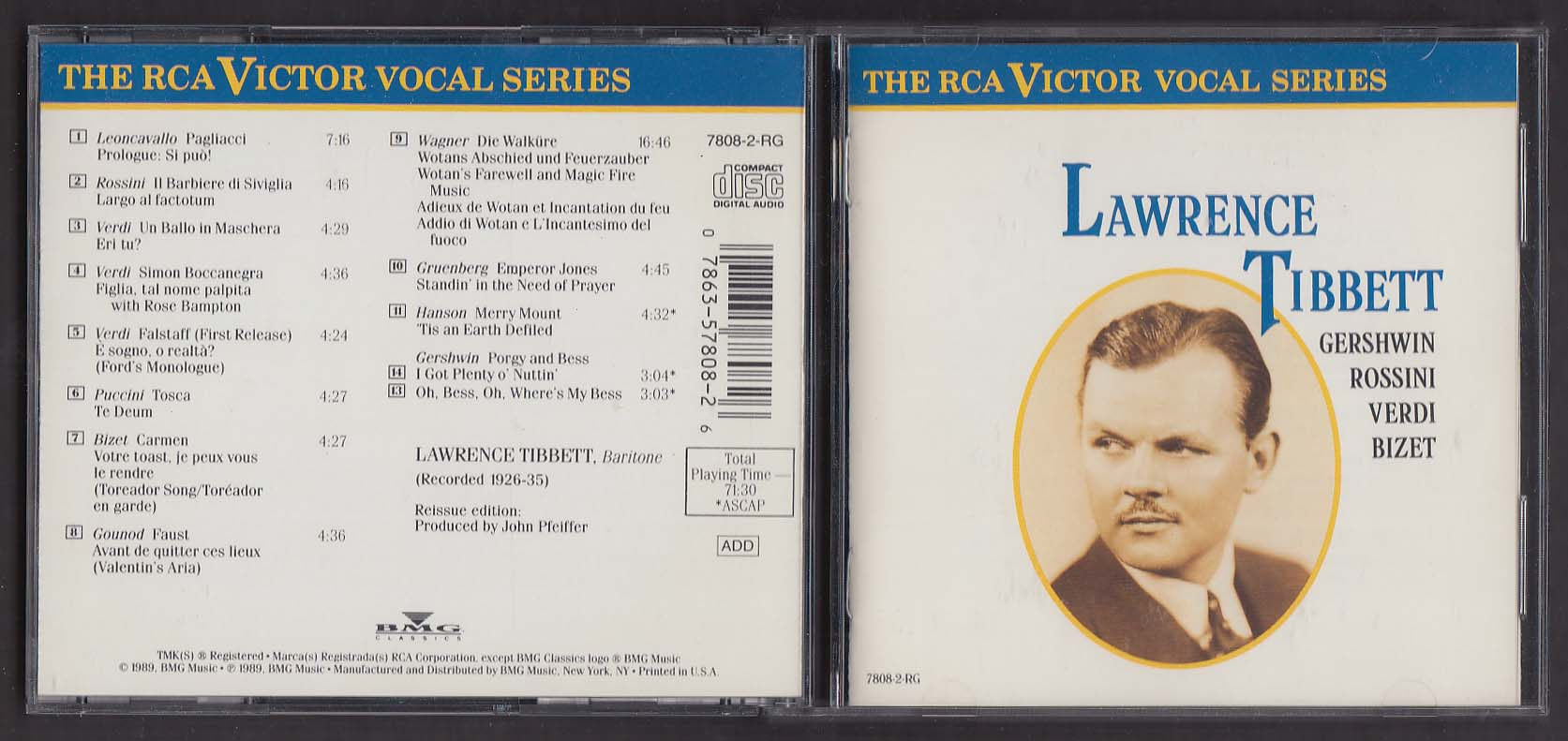 Image for Lawrence Tibbett Gershwin Rossini Verdi Bizet 7808-2-RG RCA Victor CD 1989