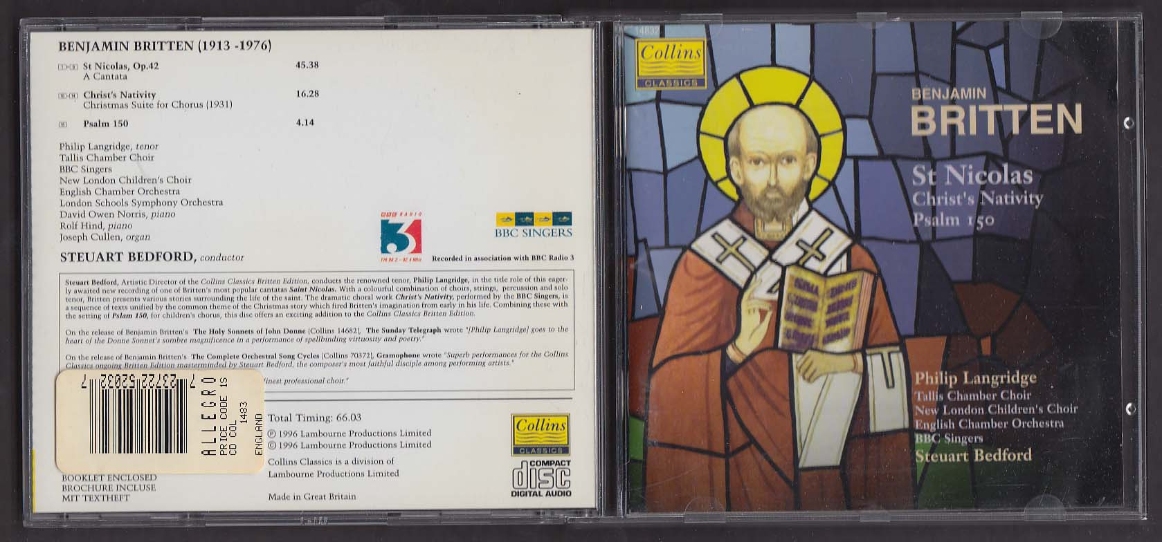 Image for Benjamin Britten St Nicolas ++ Philip Langridge BBC Collins 14832 CD 1996
