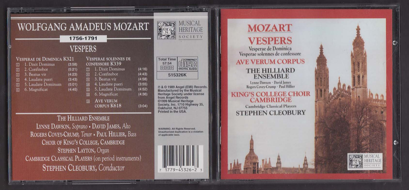 Image for Mozart Vespers Stephen Cleobury Musical Heritage Society 515326K CD 1999