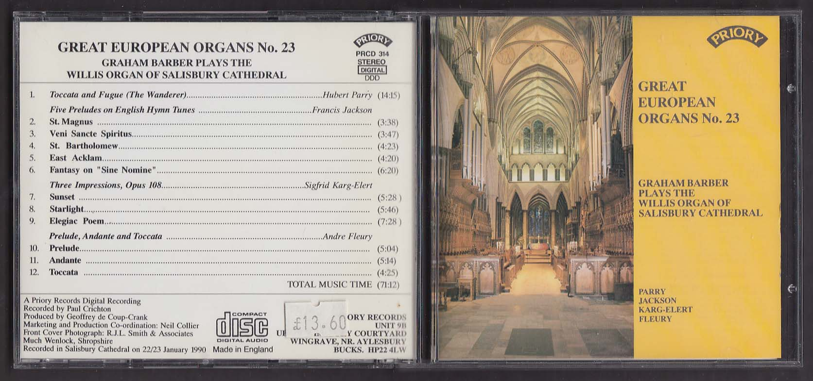 Image for Great European Organs #23 Graham Barber Salisbury PRCD 314 Priory CD 1990
