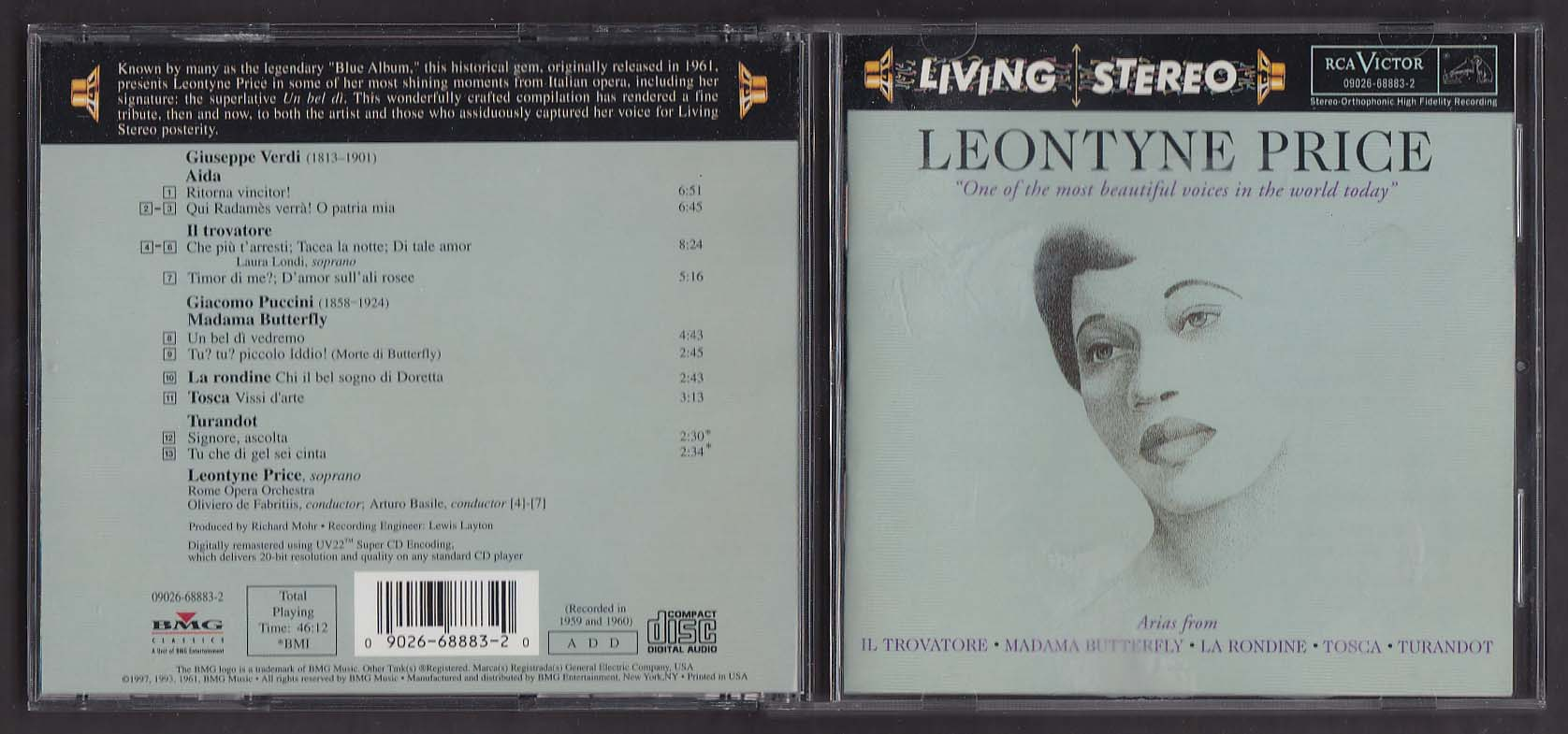 Image for Leontyne Price: Arias from Aida Madama Butterfly ++ RCA Victor CD 1997