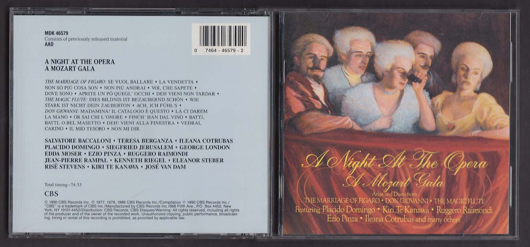 Image for Night At The Opera Mozart Gala Placido Domingo Ezio Pinza MDK 46579 CD 1990