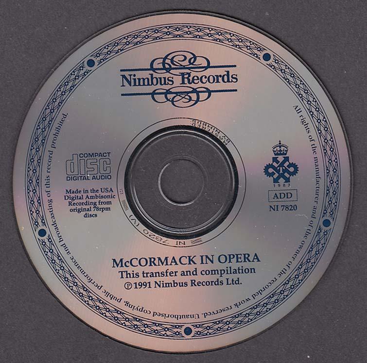 Image for Nimbus Records McCormack in Opera Prima Voce NI 7820 CD 1991