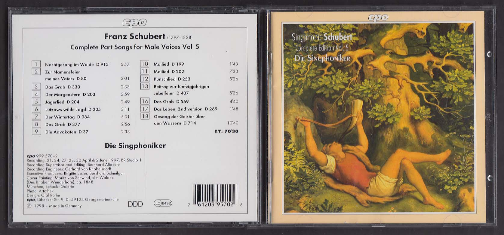 Image for Singphonic Schubert Complete Edition V 5 Die Singphoniker CPO 999 570-2 CD 1998