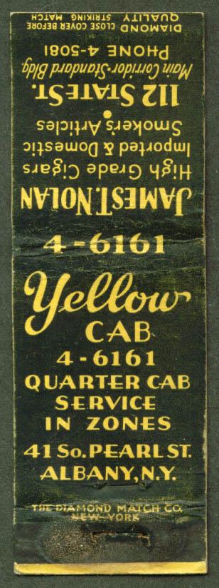 Yellow Cab & Nolan Cigars Albany NY matchcover